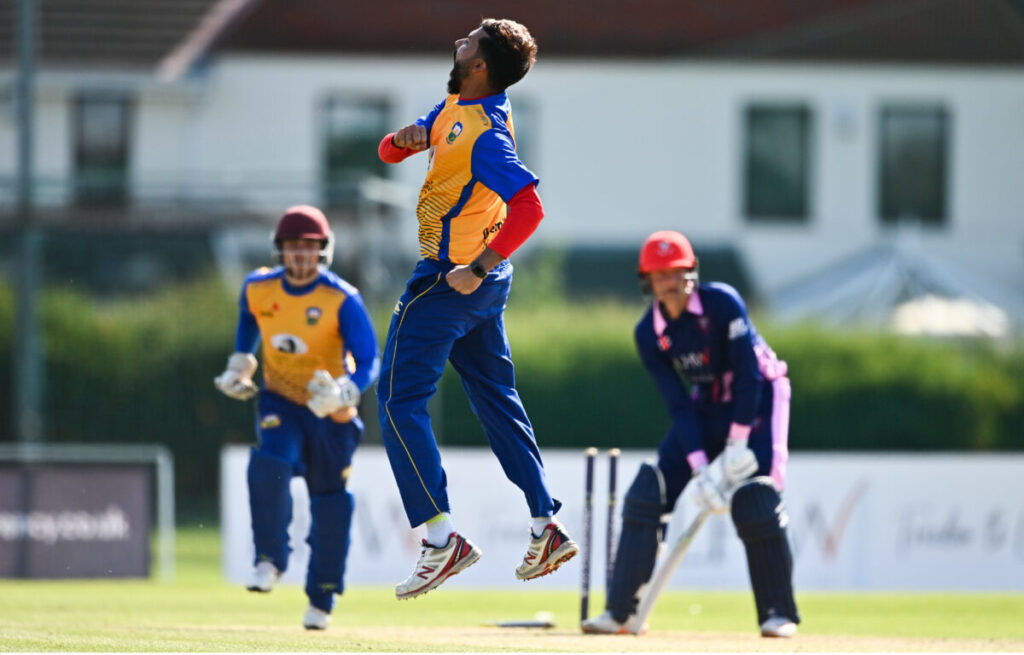 13 September 2020; Nabeel Anjum of Cork County celebrates after bowling Jack Tector of YMCA during the All-Ireland T20 Semi-Final match between YMCA and Cork County at Pembroke Cricket Club in Dublin. Photo by Sam Barnes/Sportsfile